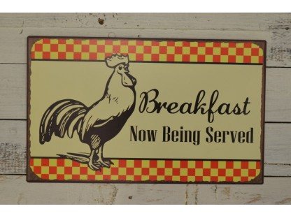 """Insegna """"breakfast now being served"""""""