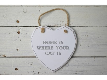 "insegna cuore ""Home is where your cat is"""
