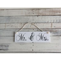 "Insegna shabby white ""mr & mrs"""