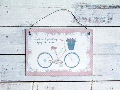 "Insegna vintage spring ""bicicletta"" - rosa"