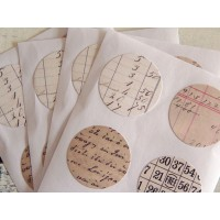 Scrapbooking mix 24 stickers rotondi numeri vintage