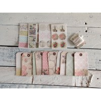 Scrapbooking set buste,stickers e spago rose romantiche
