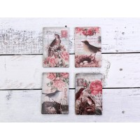 Set di 4 magneti uccellino vintage shabby