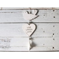 "Uccellino country shabby con cuore ""live, laugh, love"""